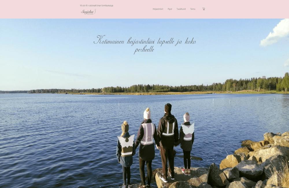 Suojelus Design verkkokaupan etusivu kotisivuprojekti